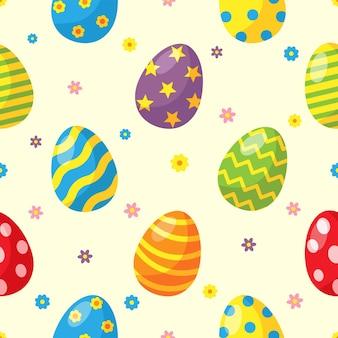 Gelukkige paasdag eieren naadloze patroon Premium Vector