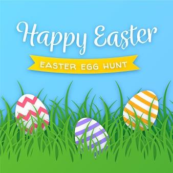 Gelukkige paasdag in papier stijl met eieren