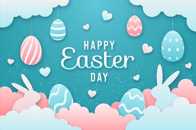 Gelukkige paasdag in papier stijl met kleurrijke eieren