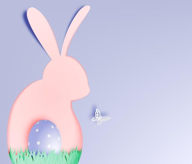 Gelukkige paasdag in papieren kunststijl met konijntje en eieren