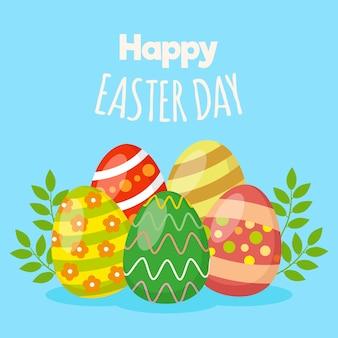 Gelukkige paasdag met beschilderde eieren