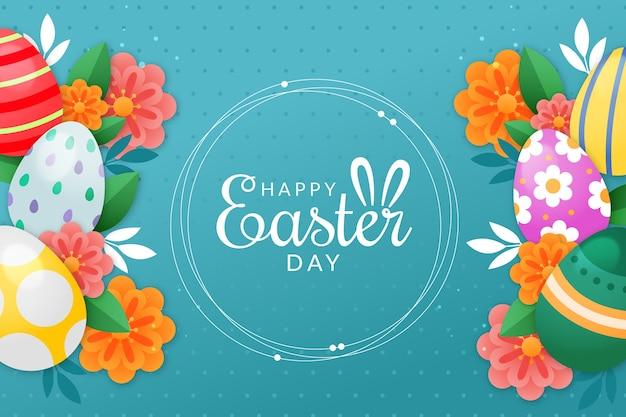 Gelukkige paasdag met eieren en bloemen
