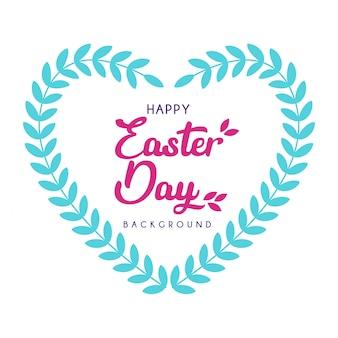 Gelukkige paasdag met hart blad decoratie achtergrond