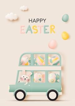 Gelukkige paasdag met schattig konijn autorijden