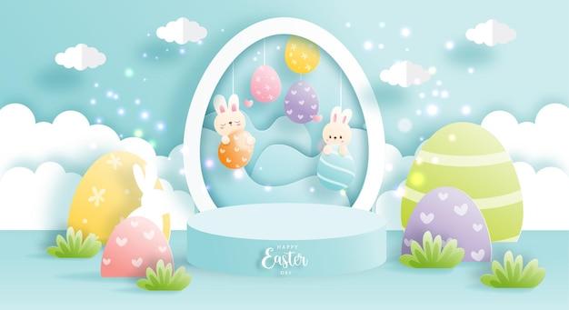 Gelukkige paasdag met schattig konijn en rond podium voor productvertoning