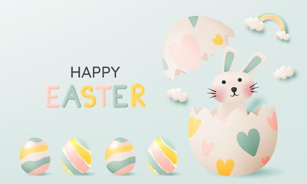 Gelukkige paasdag met schattig konijn in pastelkleur