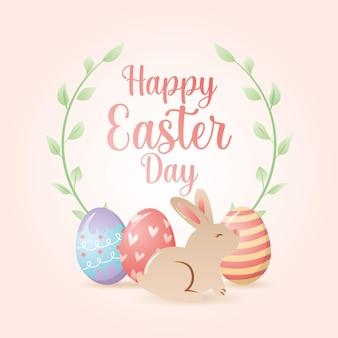 Gelukkige paasdag wenskaart met konijn en eieren