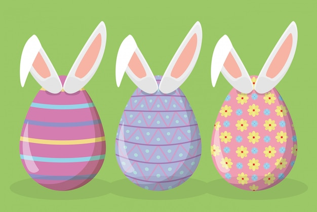 Gelukkige paaseierendecoratie met konijnoren
