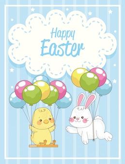 Gelukkige paaskaart met konijn en kuiken in ballonnen helium