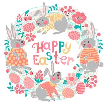 Gelukkige paaskaart met schattige konijntjes en gekleurde eieren.
