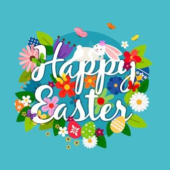 Gelukkige paaskaart met wit konijntje, eieren en bloemenillustratie