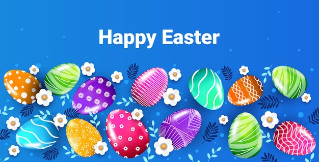 Gelukkige paasvakantie banner flyer of wenskaart met decoratieve eieren en bloemen