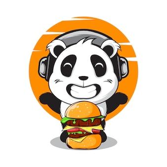 Gelukkige panda met grote burger en gebruik hoofdtelefoon illustratie