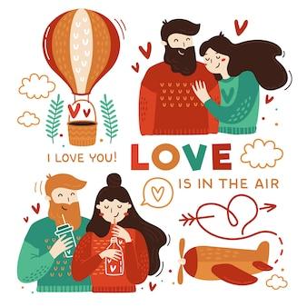 Gelukkige paren en liefdeelementen