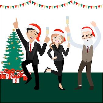 Gelukkige partijgroep bedrijfsmensen met beeldverhaalkarakter, vrolijke kerstmis en gelukkig nieuw jaar