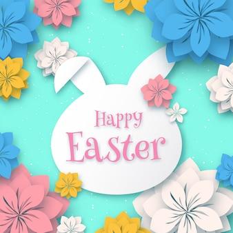 Gelukkige pasen, 3d document de vormkader van het konijnkonijntje met document sneed coloful bloem op zacht blauw, groetkaart