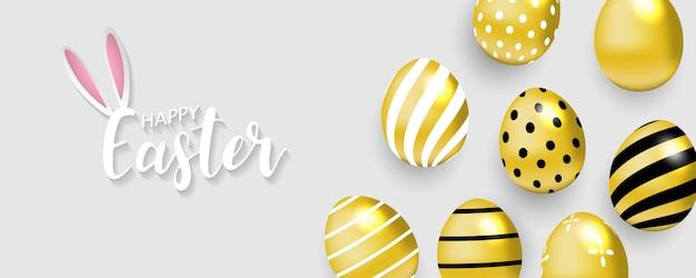 Gelukkige pasen-achtergrond. gouden eieren