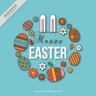 Gelukkige pasen achtergrond met bunny oren en decoratieve eieren