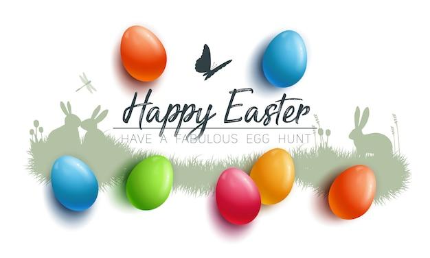 Gelukkige pasen-achtergrond met kleurrijke eieren