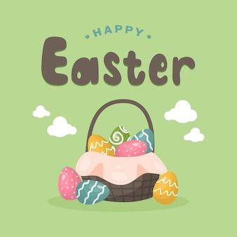 Gelukkige pasen-achtergrond met kleurrijke geschilderde eieren