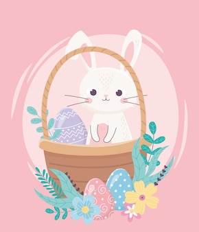 Gelukkige pasen-dag, konijn en decoratief ei op de decoratie van mandbloemen