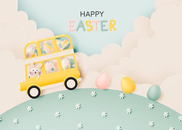 Gelukkige pasen-dag met leuk konijn die een bus en veel paaseieren in pastelkleur 3d document kunststijlillustratie drijven