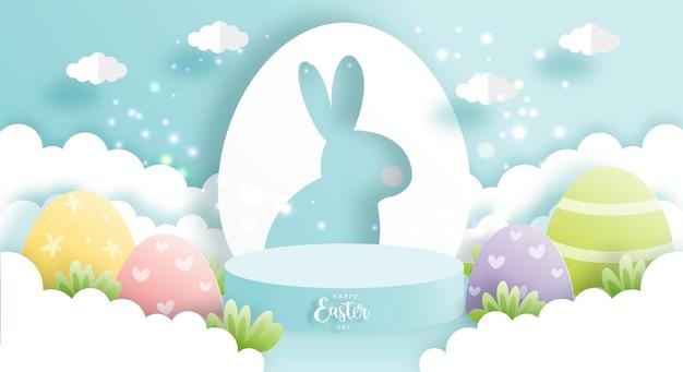Gelukkige pasen-dag met leuk konijn en rond podium