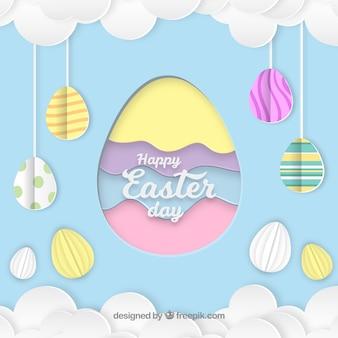 Gelukkige Pasen-dagachtergrond in document stijl