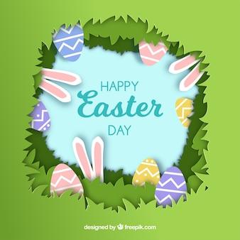 Gelukkige Pasen-dagachtergrond in document