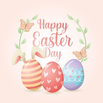 Gelukkige pasen-daggroetkaart met eieren en konijnen