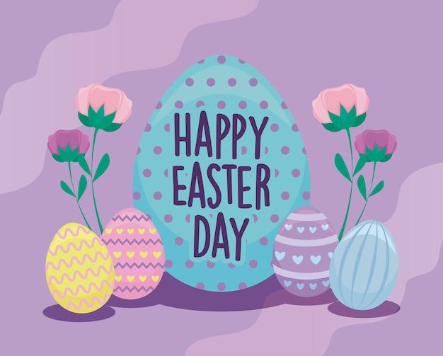 Gelukkige pasen-dagkaart met verfraaide eieren