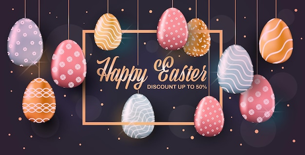 Gelukkige pasen-de bannervlieger of de groetkaart van de vakantieviering met decoratieve eieren horizontale illustratie