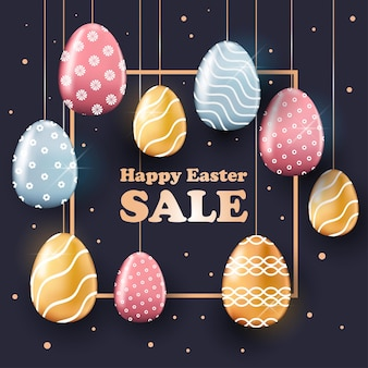 Gelukkige pasen-de bannervlieger of de groetkaart van de vakantieviering met decoratieve eierenillustratie