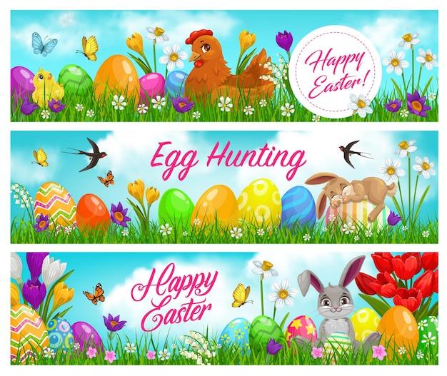 Gelukkige pasen en eierenjachtbanners met grappig konijntje