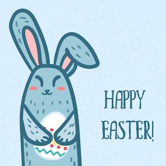 Gelukkige pasen-groet of banner met leuk konijn en ei in handen.
