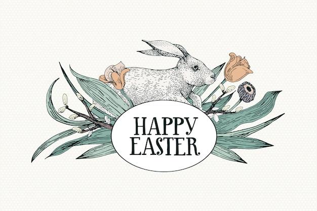 Gelukkige pasen-groetkaart met bloemen en konijn