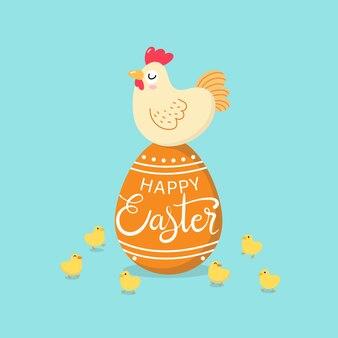 Gelukkige pasen-groetkaart met kip, kuiken en eieren