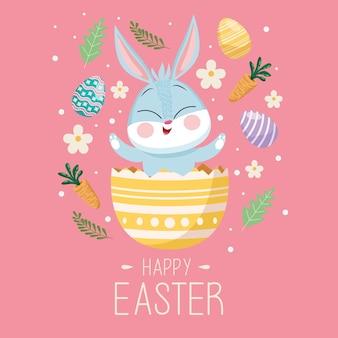Gelukkige pasen-groetkaart met leuk konijn in geschilderd ei