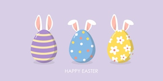 Gelukkige Pasen-groetkaart met leuke oren van konijntje en eieren.