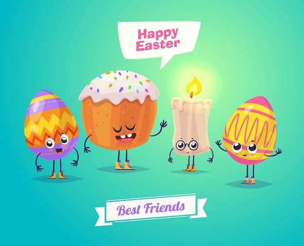 Gelukkige pasen-groetkaart met pasen-cakekaars en eieren. vector cartoon illustratie. leuke stijlvolle karakters. vector stock illustratie.