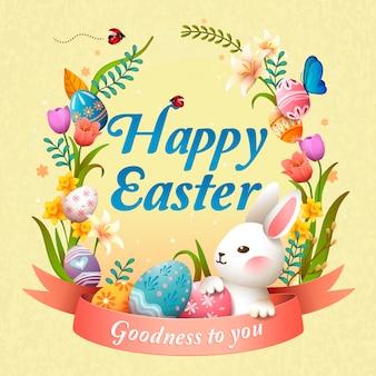 Gelukkige pasen-illustratie met een konijntje, een bloemmand en eieren, lichtgele achtergrond