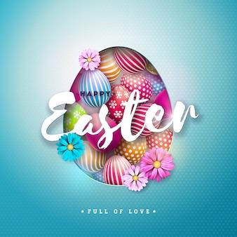 Gelukkige pasen-illustratie met ei en bloem