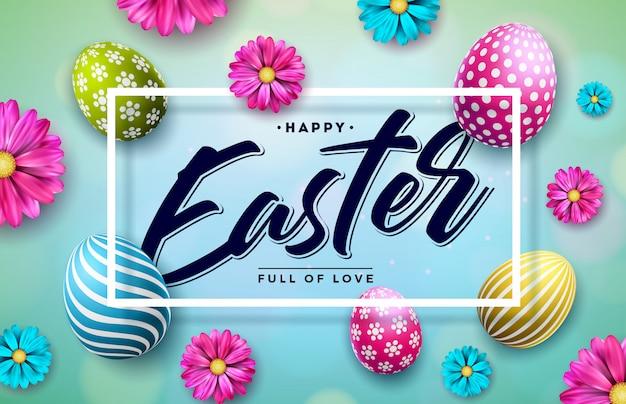 Gelukkige pasen-illustratie met kleurrijk ei en bloem