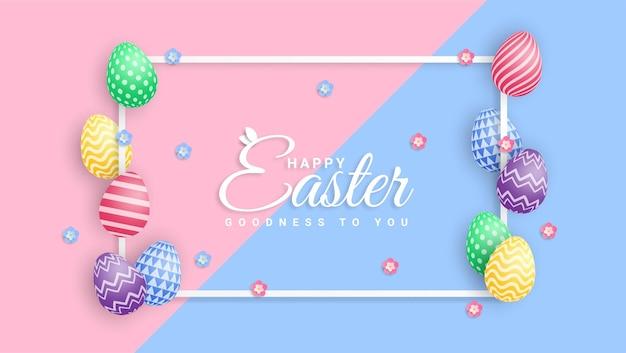 Gelukkige pasen-illustratie met kleurrijk geschilderd ei