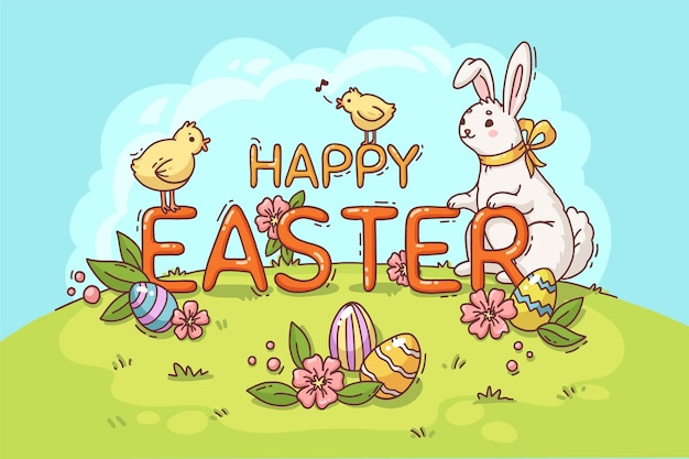Gelukkige pasen-illustratie met konijntje en kuikens