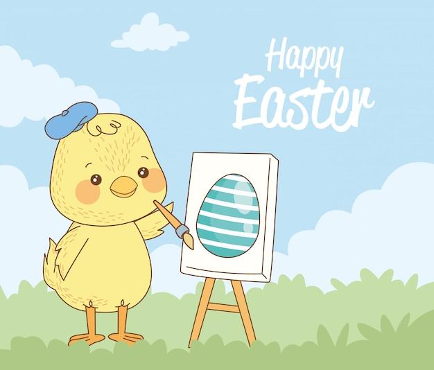 Gelukkige pasen-kaart met babykuiken het schilderen ei