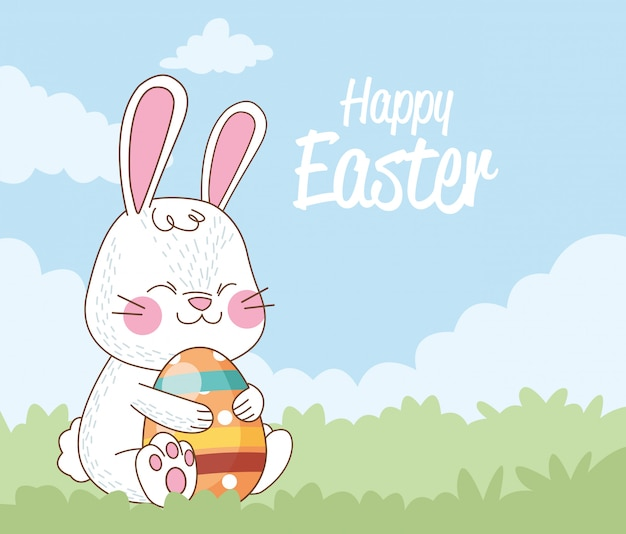 Gelukkige pasen-kaart met geschilderd konijn en ei