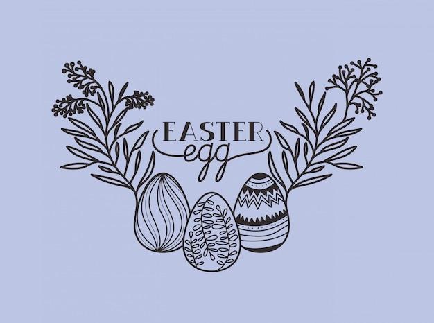 Gelukkige pasen-kaart met geschilderde eieren en bloemen