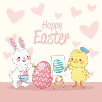 Gelukkige pasen-kaart met konijn en kuiken het schilderen eieren