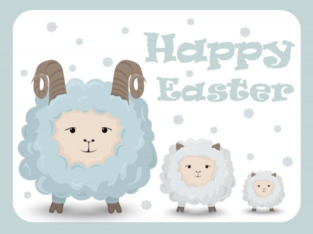 Gelukkige pasen-kaart met schapen